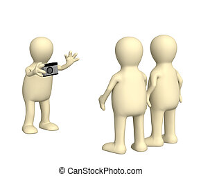 3d photographer, photographing of two friends - 3d puppet -...