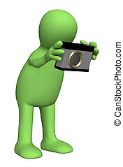 3d photographer puppet with a photocamera. Object over white