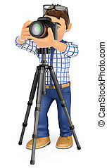 3d working people. Photographer with camera and tripod taking a picture. Isolated white background.