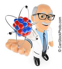 3d, physique, prof, atome