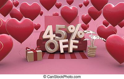 3d, piątka, dzień, procent, -, 45, od, illustration., list miłosny, czterdziestka, sprzedaż