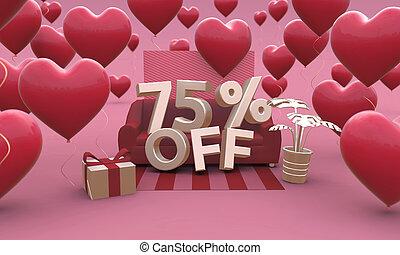 3d, piątka, dzień, procent, 75, siedemdziesiąt, -, od, illustration., list miłosny, sprzedaż