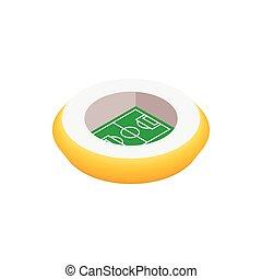 3d, piłka nożna, okrągły, stadion, ikona