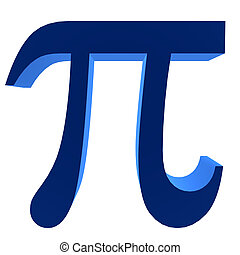 3D PI Symbol - 3D blue pi symbol on a white background