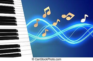 3d piano keys blank