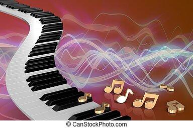 3d piano keys notes