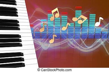 3d piano keys spectrum
