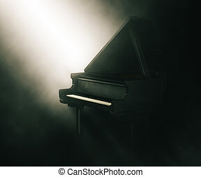 3D piano under moody lighting