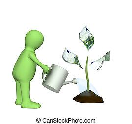 3d, pianta, irrigazione, monetario, burattino