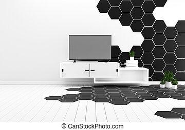 3d, -, piastrella, bianco, pavimento, interpretazione, colorare, nero, esagono, legno duro, minimal.