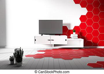 3d, -, piastrella, bianco, pavimento, rosso, interpretazione, colorare, esagono, legno duro, minimal.