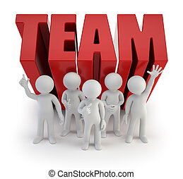 3d, piccolo, persone, -, affidabile, squadra