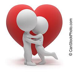 3d, piccolo, persone, -, amore