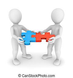 3d, piccolo, persone, con, jigsaw confondono