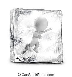3d, piccolo, persone, -, congelato