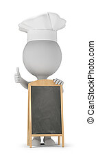 3d, piccolo, persone, cuoco, asse, -, menu
