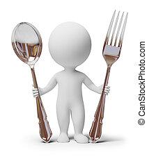 3d, piccolo, persone, -, forchetta, e, cucchiaio