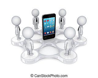 3d, piccolo, persone, intorno, mobile, telefono.