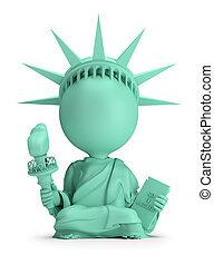 3d, piccolo, persone, -, meditare, statua libertà