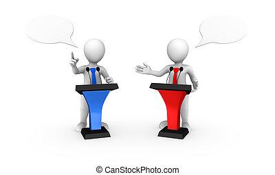 3d, piccolo, persone, parlante, da, colorato, tribuna