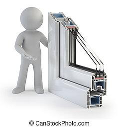 3d, piccolo, persone, -, plastica, finestra, profilo