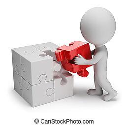 3d, piccolo, persone, -, principale, puzzle