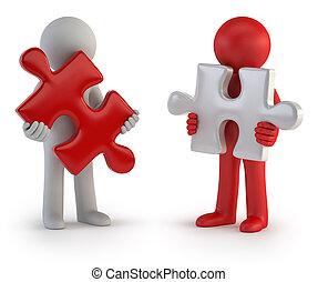 3d, piccolo, persone, -, puzzle, lavoro squadra