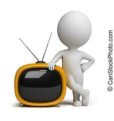 3d, piccolo, persone, -, retro, tv
