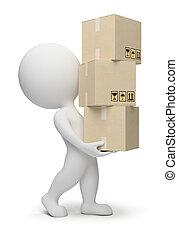 3d, piccolo, persone, -, scatole