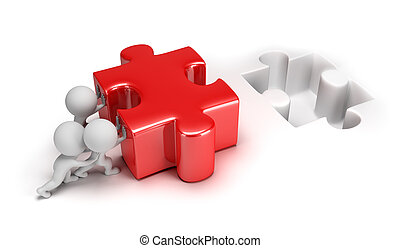 3d, piccolo, persone, spinta, puzzle