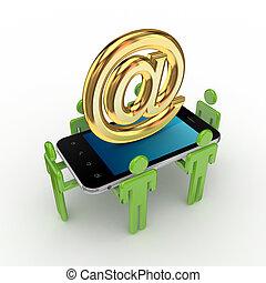 3d, piccolo, persone, telefono mobile, e, a, simbolo.