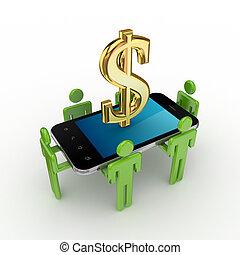 3d, piccolo, persone, telefono mobile, e, dollaro, segno.