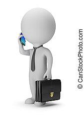 3d, piccolo, persone, -, uomo affari, con, telefono
