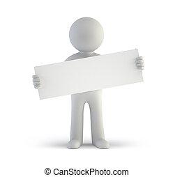 3d, piccolo, persone, -, vuoto, cartoncino bianco