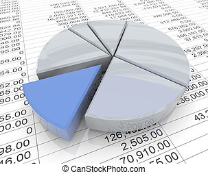 3d pie chart on sheet - 3d reflective pie chart on the...