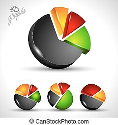 3d pie diagram for infographic or percentage data