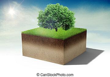 3d piece of land island with fresh green grass