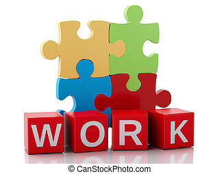 3d pieces of puzzle. Work concept