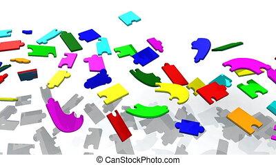 3d pieces showing teambuilding