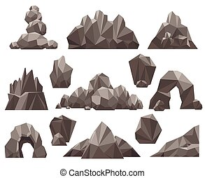 3d, pietra, set, cartone animato, roccia