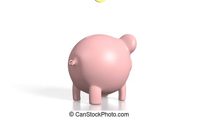3D piggy-bank/ money, white background