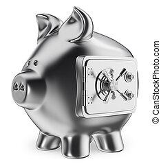 3D Piggy bank. Safe savings concept