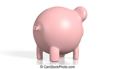 3D piggy-bank, white background