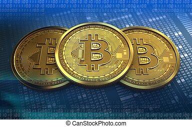 3d, pile, bitcoin
