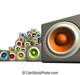 3d pile multiple color cubic sound system woofer on white -...