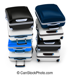 3d pile of suitcases isolated on white background