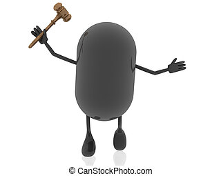 3d pill figure with hammer for justice