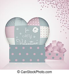 3D pillow in shape of a heart with patchwork, 3d pattern gift box.  Valentine's day.