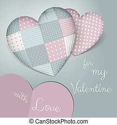 3D pillows in shape of a heart with patchwork. Sensual blue and rose shades. Valentine's day.