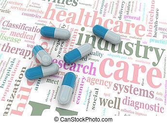 3d pills on wordcloud of healthcare